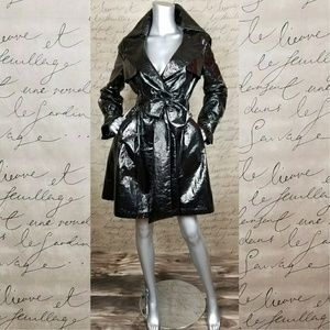 RYU Faux Patent Leather Trench Coat